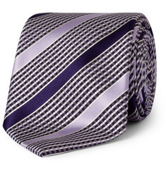Brioni Woven-Check and Striped Silk Tie