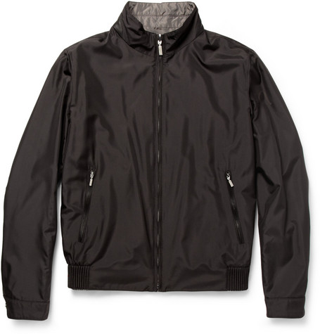 Brioni Reversible Water Repellent Silk Bomber Jacket