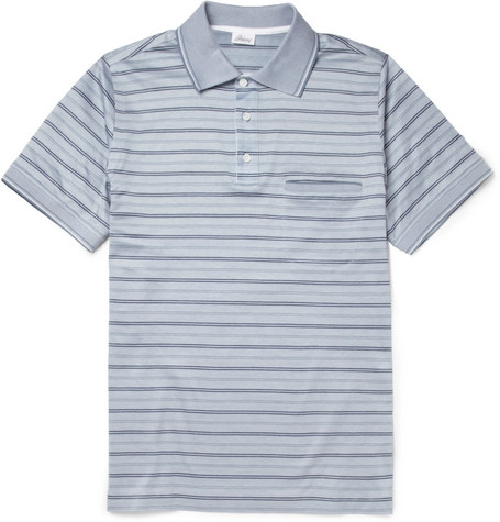 Brioni Striped Cotton-Piqué Polo Shirt