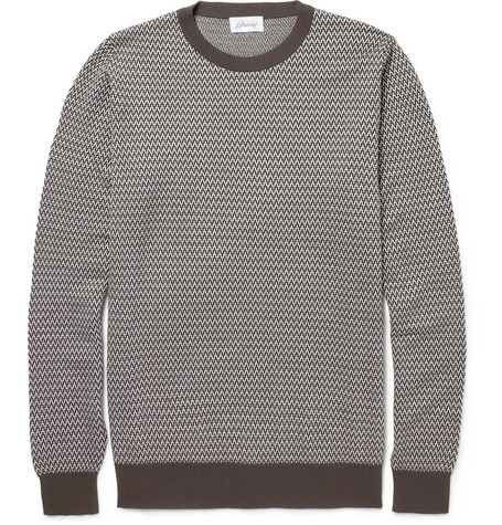 Brioni Patterned Wool and Silk-Blend Sweater
