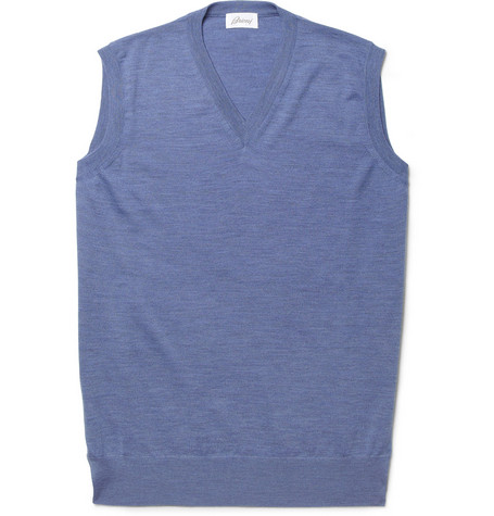Brioni Sleeveless Lightweight Wool Sweater