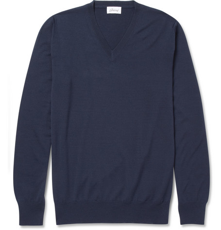 Brioni V-Neck Lightweight Wool Sweater