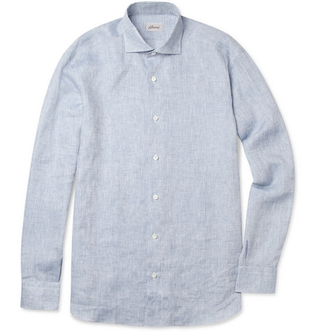 Brioni Spread-Collar Linen Shirt