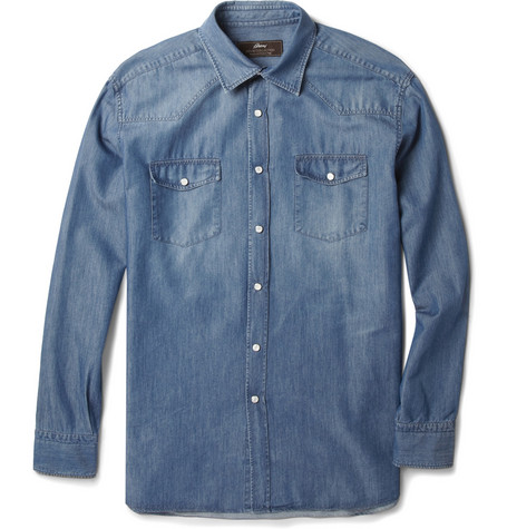 Brioni Silk and Cotton-Blend Denim Shirt
