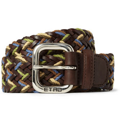 Etro Woven-Leather and Cotton Belt