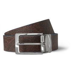 Etro Reversible Printed Textured Leather Belt