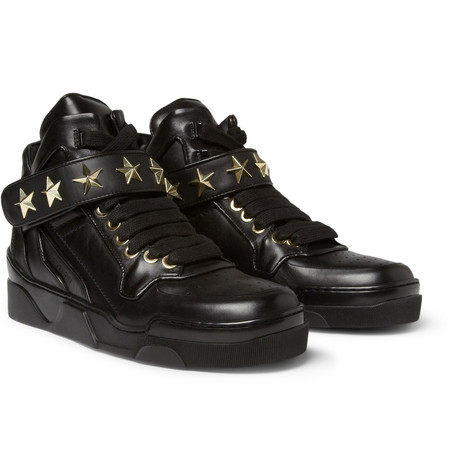 Givenchy Metal Star-Trimmed Leather High Top Sneakers