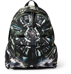 Givenchy Airplane-Print Leather-Trimmed Backpack