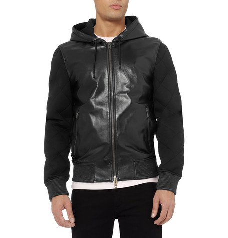 Givenchy Leather and Quilted-Neoprene Hooded Jacket