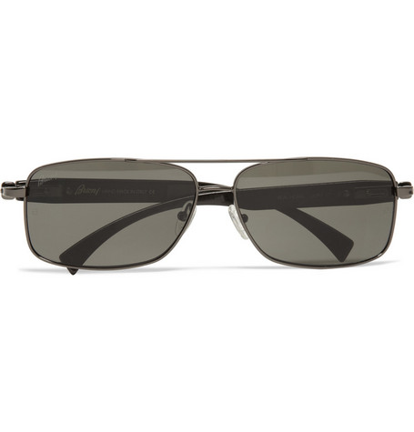 Brioni Metal and Horn Rectangular-Frame Sunglasses