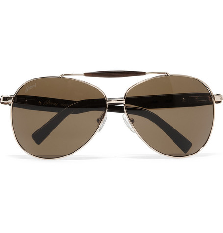 Brioni Metal and Horn Aviator Sunglasses
