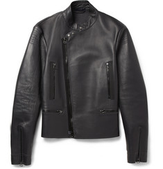 Lanvin Knitted-Back Leather Jacket