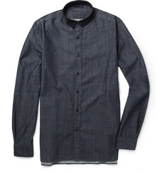 Lanvin Slim-Fit Grosgrain-Collar Chambray Shirt