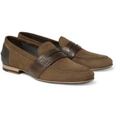 Lanvin Nubuck and Leather Penny Loafers