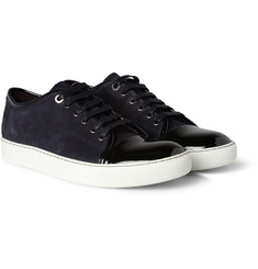 Lanvin Two-Tone Suede and Patent-Leather Sneakers