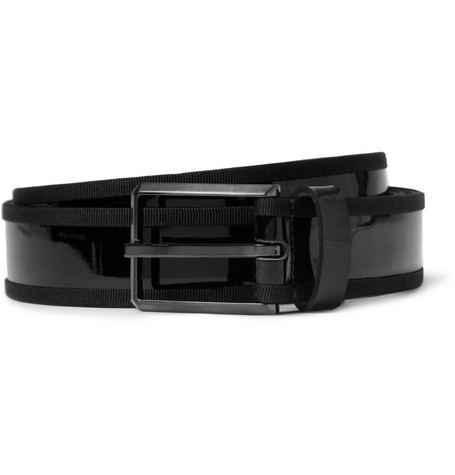 Lanvin Grosgrain-Trimmed Patent-Leather Belt