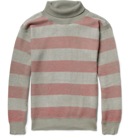 Burberry Prorsum Striped Cashmere and Cotton-Blend Rollneck Sweater