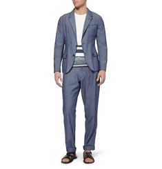 Dolce & Gabbana Blue Slim-Fit Chambray Suit Jacket