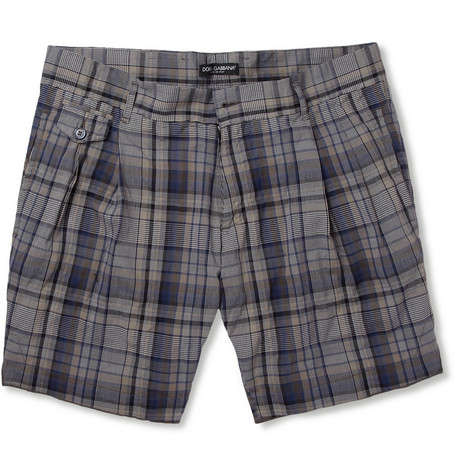 Dolce & Gabbana Plaid Cotton-Blend Shorts