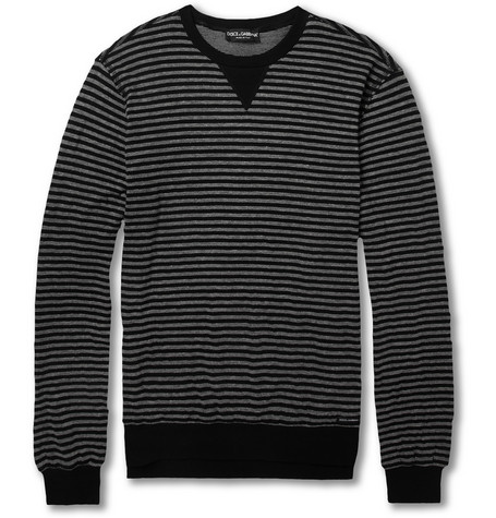 Dolce & Gabbana Striped Cotton-Blend Sweater