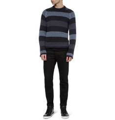 Dolce & Gabbana Striped Crochet-Knit Cotton Sweater