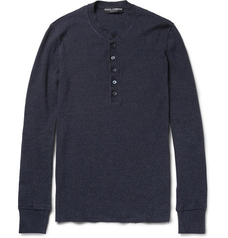 Dolce & Gabbana Long-Sleeved Ribbed Cotton Henley T-Shirt