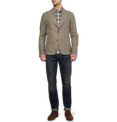 Dolce & Gabbana Slim-Fit Cotton and Linen-Blend Check Shirt