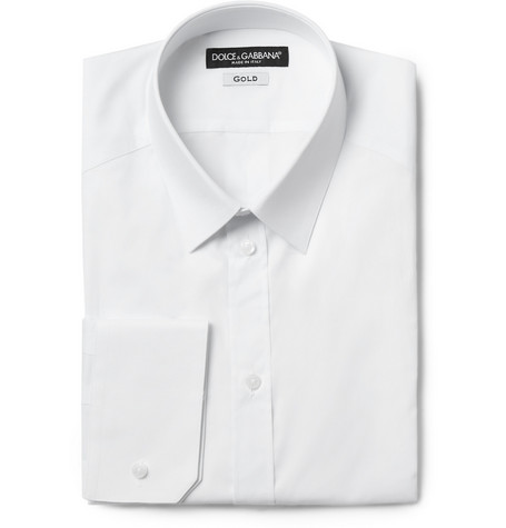 Dolce & Gabbana White Slim Gold-Fit Cotton-Blend Shirt