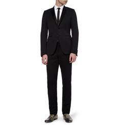 Dolce & Gabbana White Gold-Fit Cotton Tuxedo Shirt
