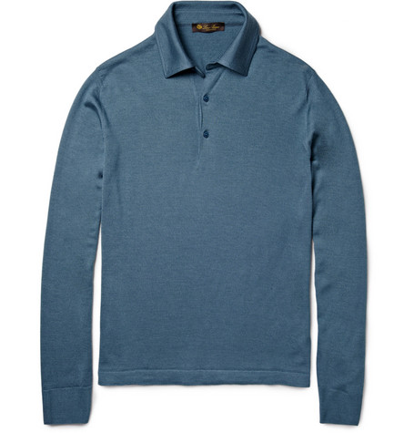 Loro Piana Long-Sleeved Cashmere and Silk-Blend Polo Shirt