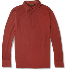Loro Piana Long-Sleeved Cotton-Piqué Polo Shirt