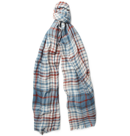 Loro Piana Lightweight Plaid Cashmere Scarf