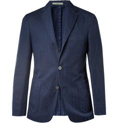 Boglioli Slim-Fit Unstructured Herringbone Cotton and Linen-Blend Blazer