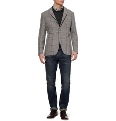 Boglioli Unstructured Prince of Wales Check Linen Blazer