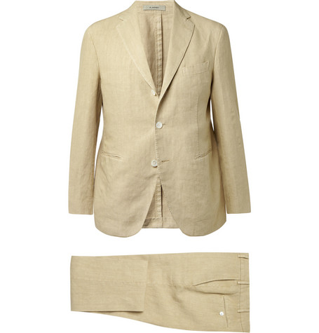 Boglioli Beige Three-Piece Linen Suit
