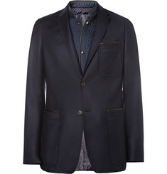 Burberry London Slim-Fit Wool Blazer With Quilted Trim