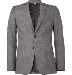 Burberry London Slim-Fit Patterned Linen-Blend Blazer