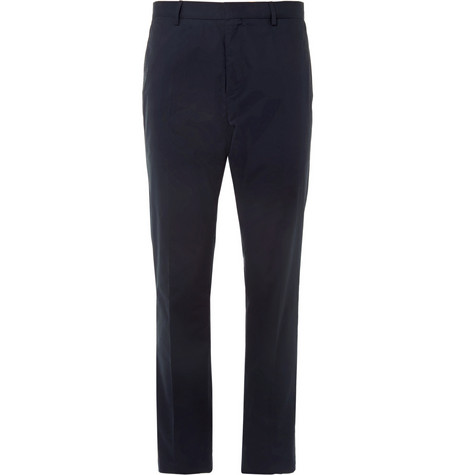 Burberry London Navy Slim-Fit Cotton Suit Trousers