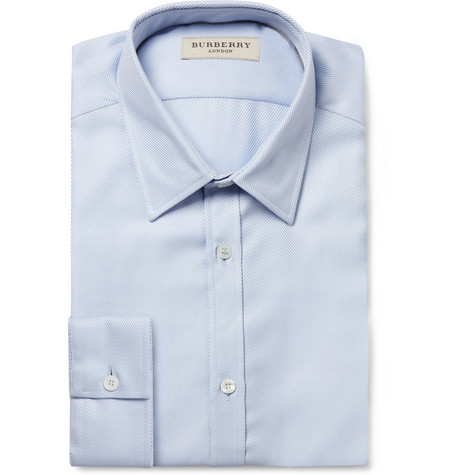 Burberry London Blue Striped Woven-Cotton Shirt