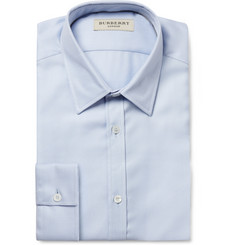 Burberry London Blue and White Striped Woven-Cotton Shirt