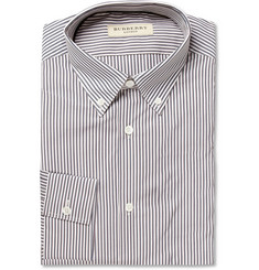 Burberry London Blue and White Bengal Stripe Button-Down Collar Shirt