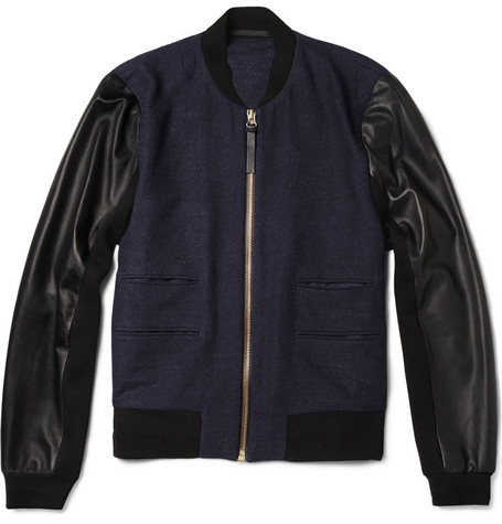 Paul Smith Leather-Sleeved Textured-Weave Wool-Blend Bomber Jacket