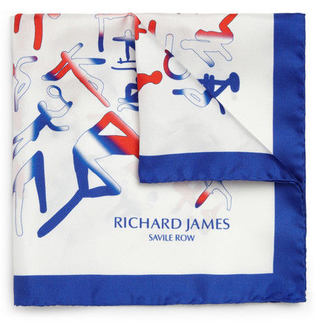 Richard James Sportif Printed Silk Pocket Square