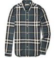 Burberry Brit Slim-Fit Check Cotton and Linen-Blend Shirt