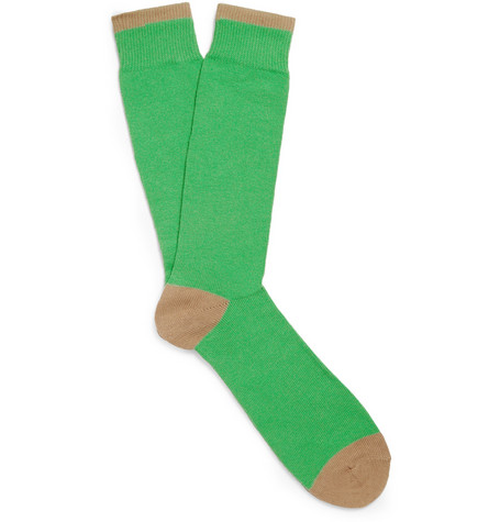 J.Crew Two-Tone Cotton-Blend Socks