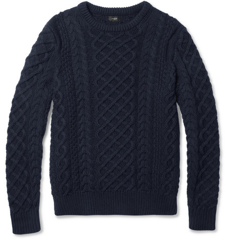 J.Crew Cable-Knit Cotton Crew Neck Sweater