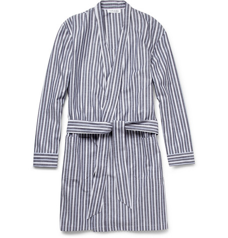 Naturally from Derek Rose Lipar Striped Cotton Dressing Gown