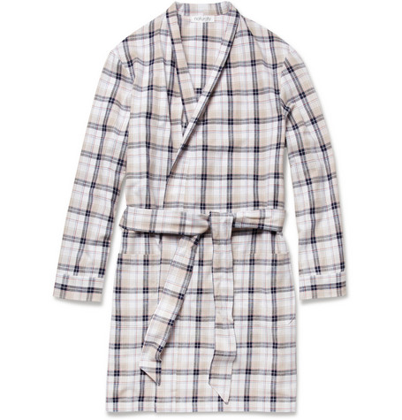 Naturally from Derek Rose Portofino Plaid Cotton Dressing Gown