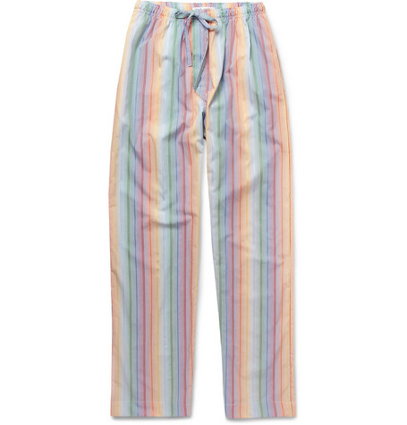 Naturally from Derek Rose Rimini Striped Cotton Lounge Trousers