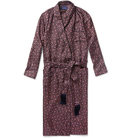 Derek Rose Otis Paisley-Print Silk Dressing Gown